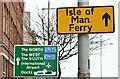 J3474 : Isle of Man ferry direction sign, Belfast (March 2016) by Albert Bridge