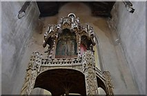 TG2834 : Trunch: St. Botolph's Church: The oak font canopy (ca. 1500) 1 by Michael Garlick