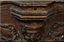 TG2834 : Trunch: St. Botolph's Church: C14th grotesque misericord 2 by Michael Garlick
