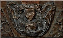 TG2834 : Trunch: St. Botolph's Church: C14th grotesque misericord 5 by Michael Garlick