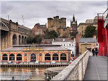 NZ2563 : Walkway Across the Tyne Swing Bridge by David Dixon