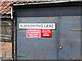 TM1354 : Blacksmiths Lane sign by Adrian Cable