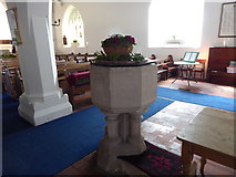 SU3477 : St James, Eastbury: font by Basher Eyre