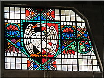 TQ0584 : Uxbridge tube station - stained glass window by Mike Quinn