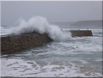 SW3526 : Waves crashing over the breakwater at Sennen Cove by Rod Allday