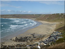 SW3526 : Looking down on Sennen beach from Stonechair Lane by Rod Allday