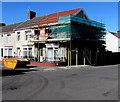 SN5100 : Scaffolding and skip on a Llanelli corner by Jaggery