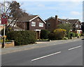 SO9221 : Warning sign - roundabout ahead, Hatherley Lane, Cheltenham by Jaggery