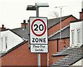 J3574 : 20 mph sign, Severn Street, Belfast (April 2016) by Albert Bridge