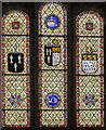 SK9443 : Heraldic Stained glass window, St Wilfred's church, Honington by Julian P Guffogg