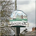 TL7261 : Dalham village sign (detail) by Adrian S Pye