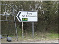 TM0658 : Roadsign on the A14 slip road by Adrian Cable