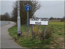TM0659 : Thorney Green Road sign & roadsign by Adrian Cable