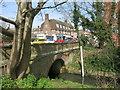 TQ2688 : Gauge Board in the Mutton Brook by Des Blenkinsopp