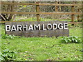 TM1351 : Barham Lodge sign by Adrian Cable