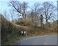 SX5795 : Warning of sharp bend, Upcott Hill, Okehampton by David Smith