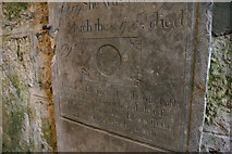 SW4538 : Zennor: memorial stone inside tower, St Senara's church by Christopher Hilton