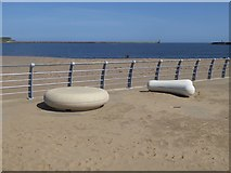 NZ3767 : Benches on Littlehaven Promenade by Oliver Dixon