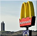 J4873 : Scrabo Tower and McDonald's sign, Newtownards (April 2016) by Albert Bridge