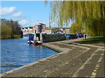 TL1998 : Narrowboats moored on the River Nene, Peterborough by Mat Fascione