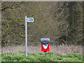 TM1351 : Bridleway sign off Sandy Lane by Adrian Cable