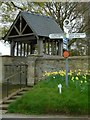 SO4798 : Lychgate and fingerpost, Leebotwood by Alan Murray-Rust