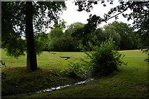 TQ3870 : Stream crossing the fairway, Beckenham Place Park by Christopher Hilton