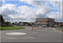 TQ0975 : Hatton Cross Roundabout and Barclays Bank by Andrew Tatlow