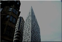 TQ3282 : Looking up at the Tonic Remedy and M by Motcalm building from City Road by Robert Lamb