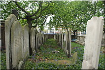 TQ3282 : View along two rows of graves in Bunhill Fields by Robert Lamb