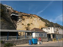 SZ0990 : Bournemouth: the East Cliff Lift after a landslip by Chris Downer
