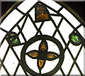 SK9389 : Old stained glass fragments, St Chad's church, Harpswell by J.Hannan-Briggs