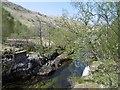 NN0936 : River Kinglass - site of bridge by Richard Webb