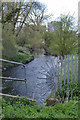 SP3779 : River Sowe, looking downstream past Caludon Castle School, Coventry by Robin Stott