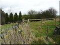 SE0221 : Fence across the footpath east of Noah Dale Farm, Soyland by Humphrey Bolton