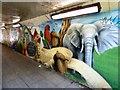 SJ8995 : Gorton Works & Belle Vue Zoo Mural by Gerald England