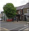 SN7810 : Fenced-off tree in  Commercial Street, Ystradgynlais by Jaggery