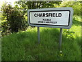 TM2656 : Charsfield Village Name sign by Adrian Cable
