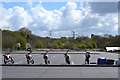 SP3677 : Five little motorbikes waiting for their riders, Alan Higgs Centre, Allard Way, Coventry by Robin Stott