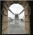 SH5571 : Looking straight down the Menai Suspension Bridge by Gerald England