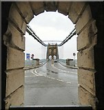 SH5571 : Looking straight down the Menai Suspension Bridge by Gerald England