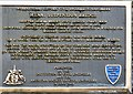 SH5571 : Black Plaque: Menai Suspension Bridge (English) by Gerald England