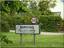 TM0652 : Barking Village Name sign on the B1078 Barking Road by Adrian Cable