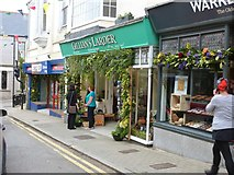 SW6527 : Decorated shop fronts, Meneage Street, Helston by Derek Voller