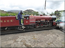 NY1700 : 'River Mite' on the turntable at Dalegarth Station by Sarah Charlesworth
