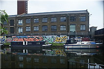 TQ3784 : View of boats moored on the River Lea near Stratford by Robert Lamb