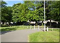 SJ8744 : Boothen, Stoke-on-Trent: grassed area with paths by Jonathan Hutchins