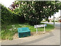 TM0855 : Hill House Lane sign & Grit Bin by Adrian Cable