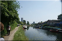 TQ3783 : View of Capital Towers next to the Bow Flyover from the River Lea #2 by Robert Lamb