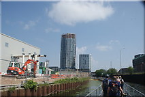 TQ3783 : View of Capital Towers next to the Bow Flyover from the River Lea #3 by Robert Lamb